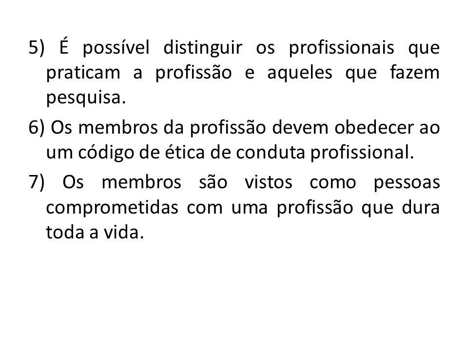 5) É possível distinguir os profissionais que praticam a profissão e aqueles que fazem pesquisa.