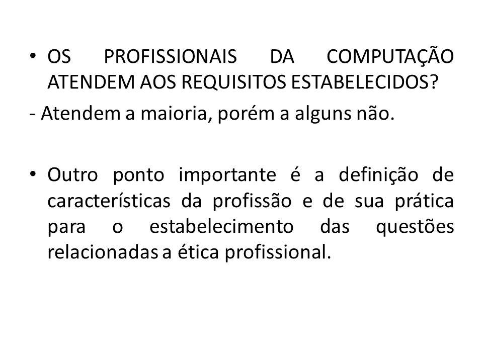 OS PROFISSIONAIS DA COMPUTAÇÃO ATENDEM AOS REQUISITOS ESTABELECIDOS