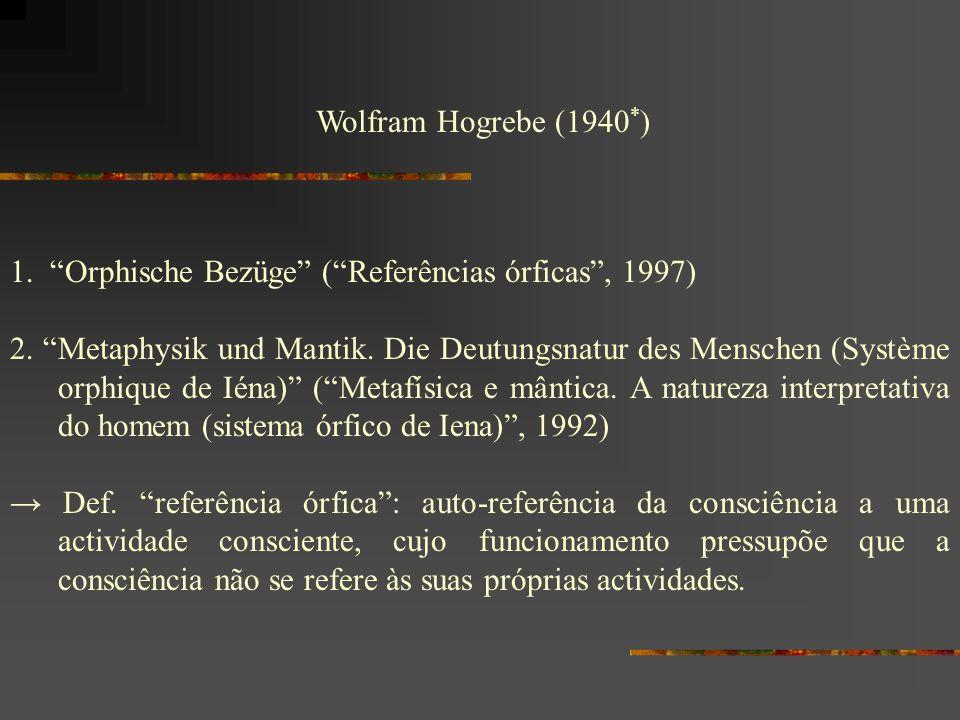 Wolfram Hogrebe (1940*) 1. Orphische Bezüge ( Referências órficas , 1997)