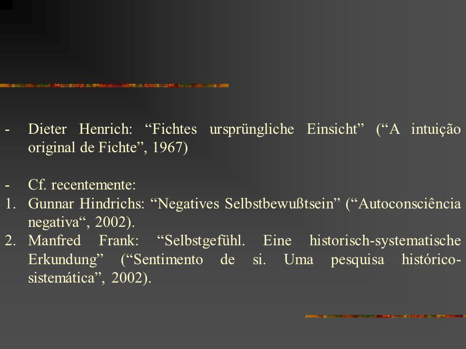 Dieter Henrich: Fichtes ursprüngliche Einsicht ( A intuição original de Fichte , 1967)