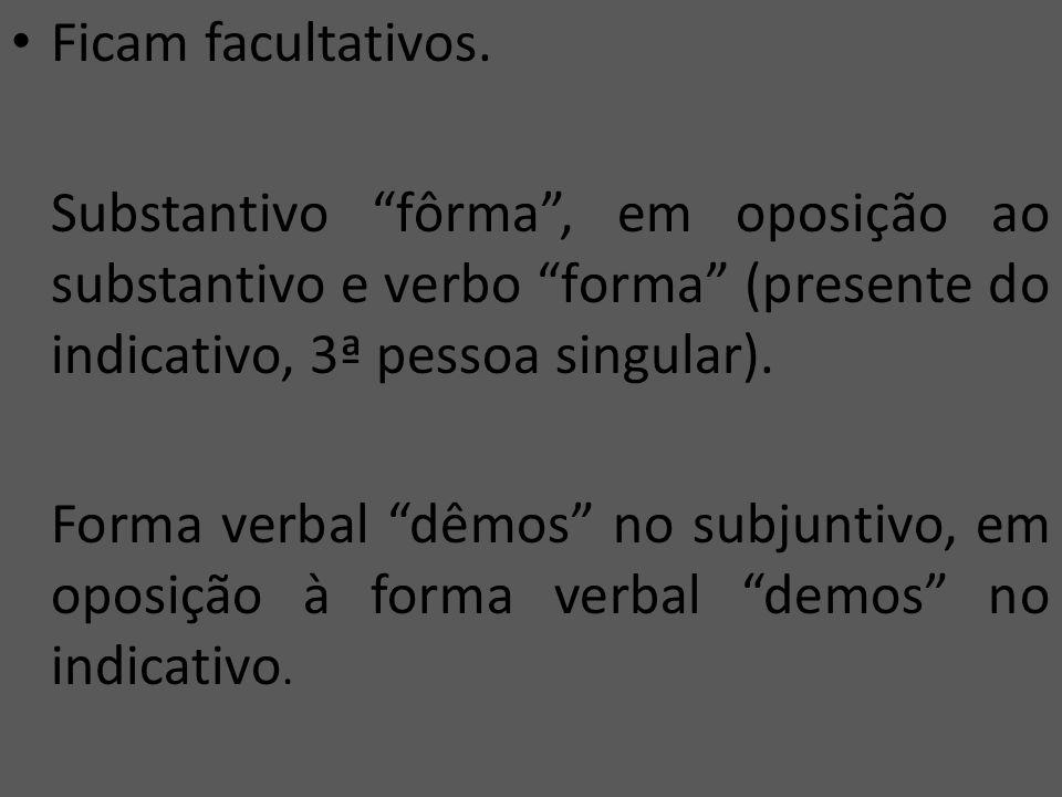 Ficam facultativos. Substantivo fôrma , em oposição ao substantivo e verbo forma (presente do indicativo, 3ª pessoa singular).