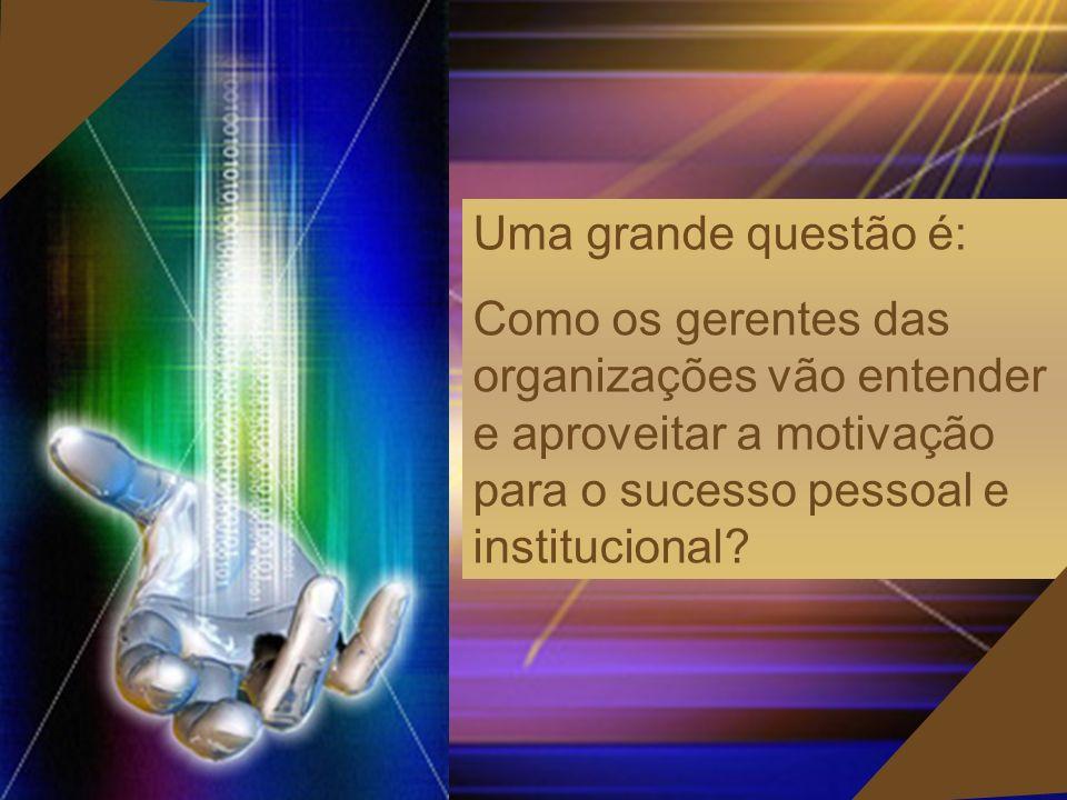Uma grande questão é: Como os gerentes das organizações vão entender e aproveitar a motivação para o sucesso pessoal e institucional