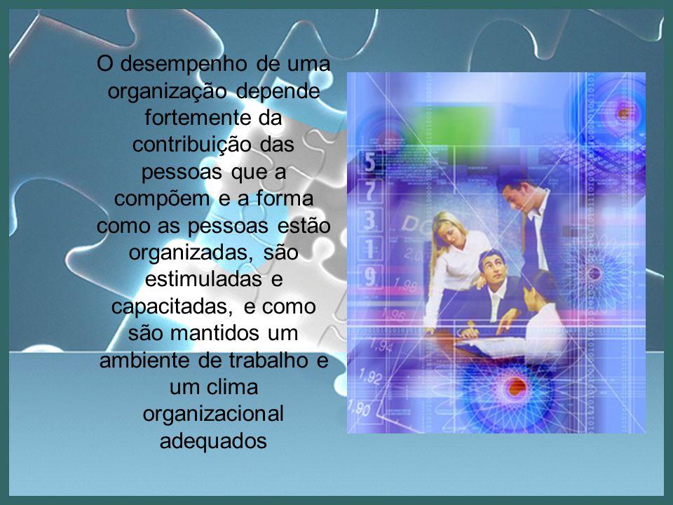 O desempenho de uma organização depende fortemente da contribuição das pessoas que a compõem e a forma como as pessoas estão organizadas, são estimuladas e capacitadas, e como são mantidos um ambiente de trabalho e um clima organizacional adequados