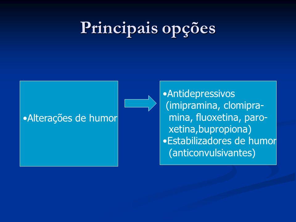 Principais opções Antidepressivos (imipramina, clomipra-