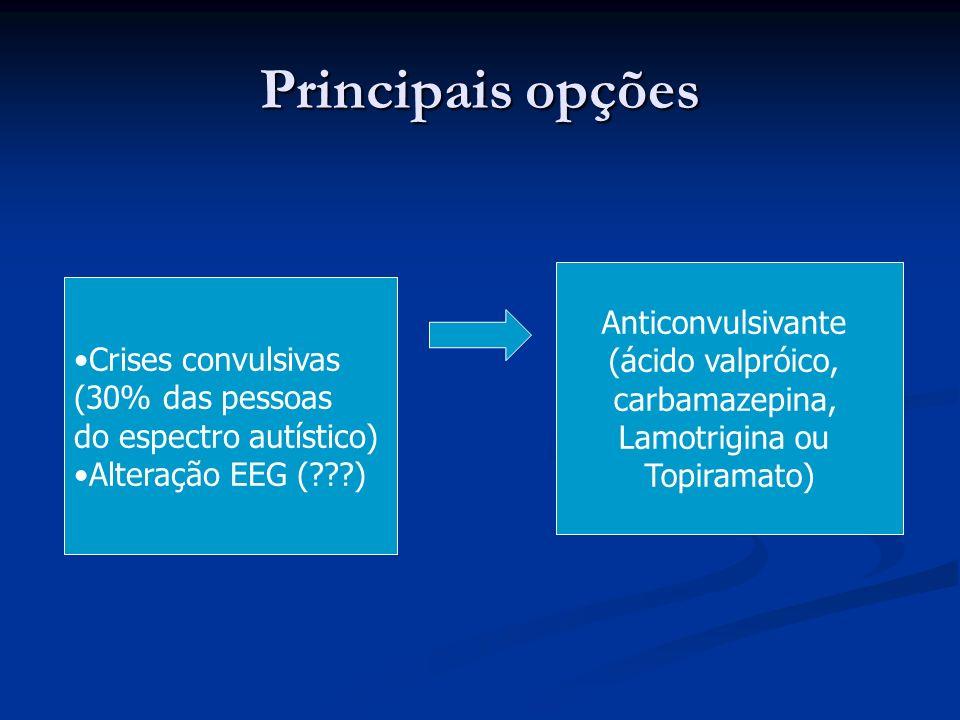 Principais opções Anticonvulsivante (ácido valpróico,
