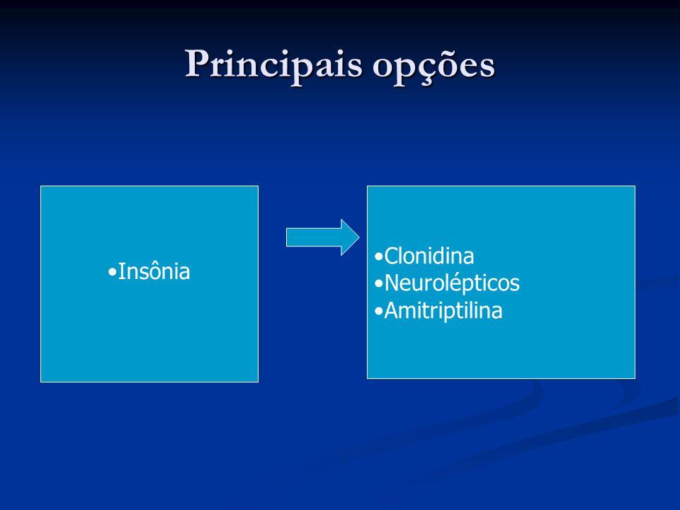 Principais opções Insônia Clonidina Neurolépticos Amitriptilina