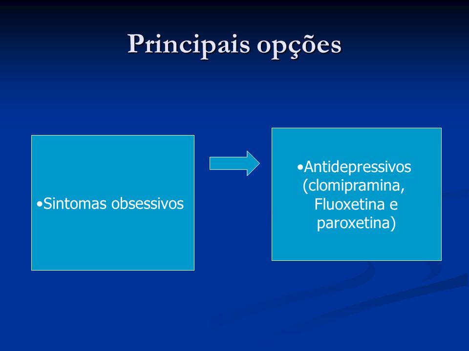 Principais opções Antidepressivos (clomipramina, Fluoxetina e