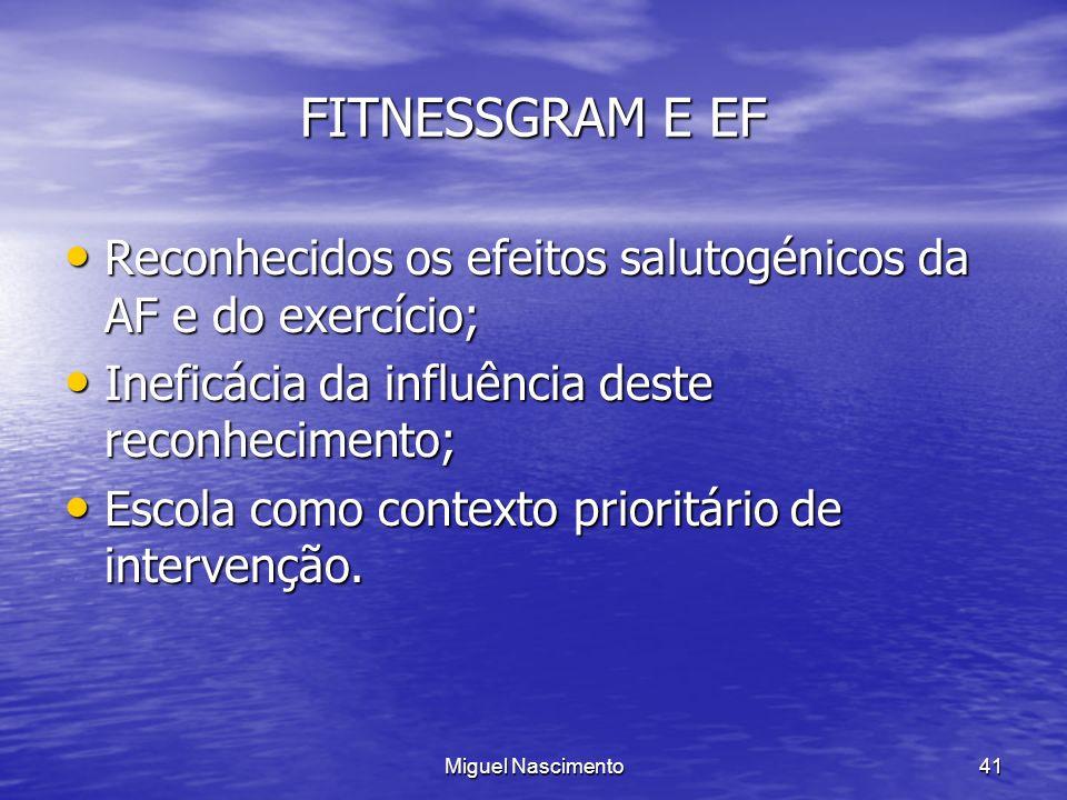 FITNESSGRAM E EF Reconhecidos os efeitos salutogénicos da AF e do exercício; Ineficácia da influência deste reconhecimento;