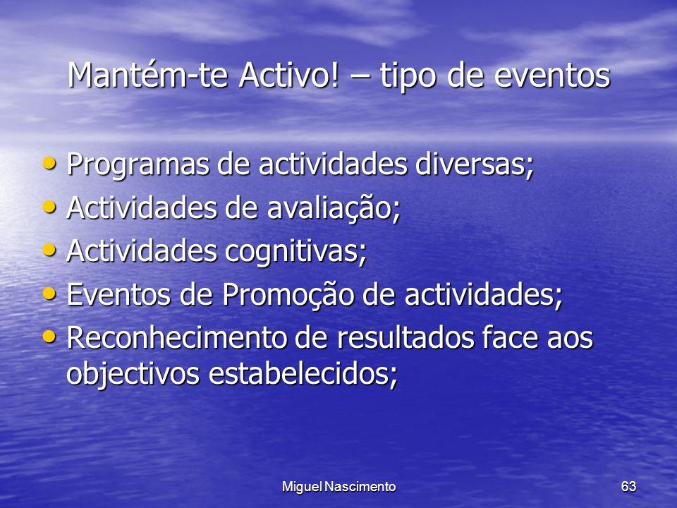 Mantém-te Activo! – tipo de eventos