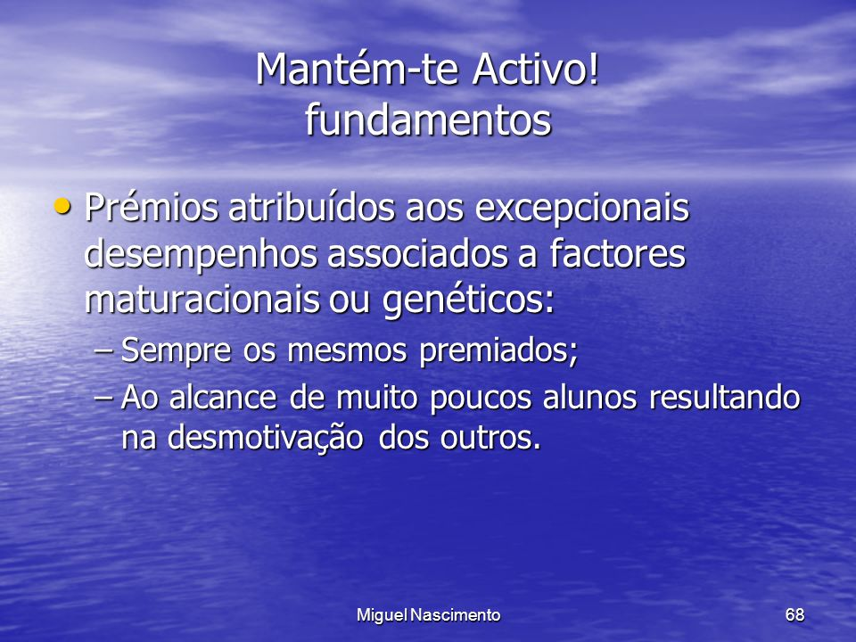 Mantém-te Activo! fundamentos