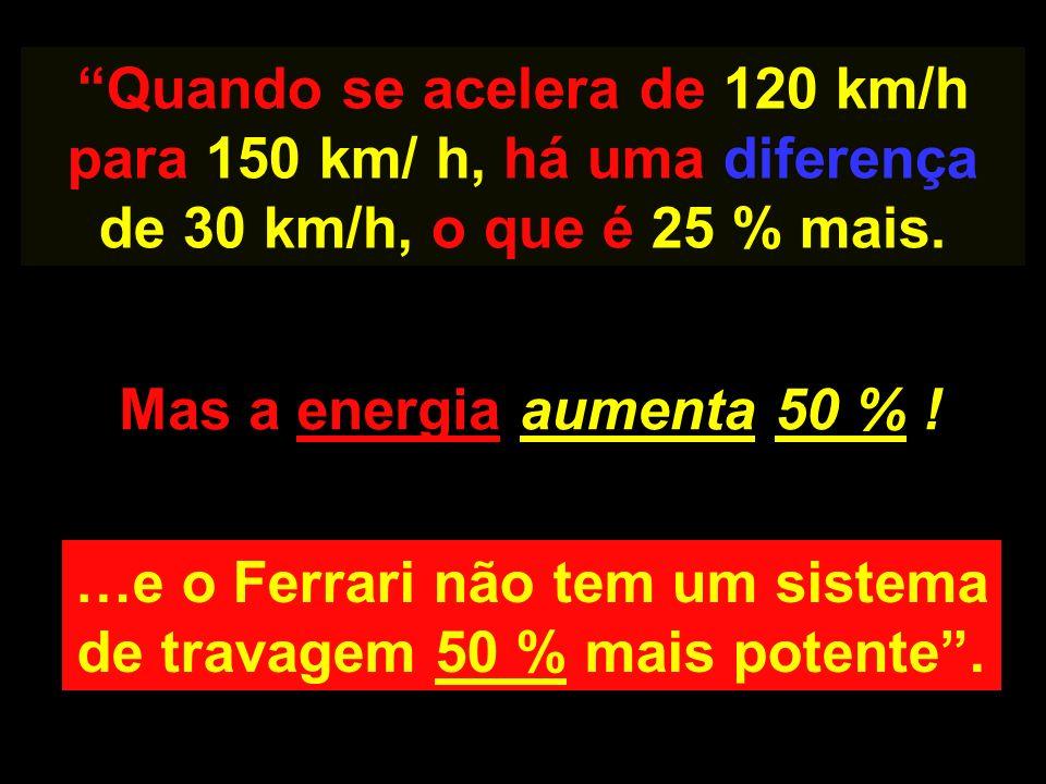 …e o Ferrari não tem um sistema de travagem 50 % mais potente .