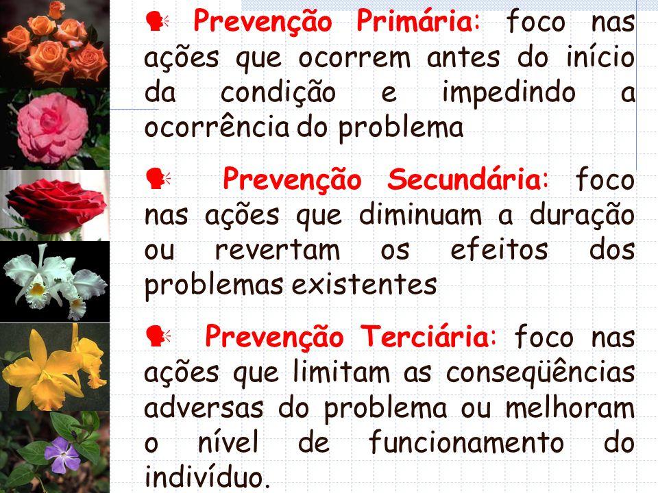  Prevenção Primária: foco nas ações que ocorrem antes do início da condição e impedindo a ocorrência do problema