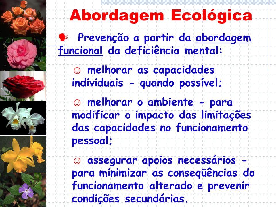 Abordagem Ecológica  Prevenção a partir da abordagem funcional da deficiência mental: ☺ melhorar as capacidades individuais - quando possível;