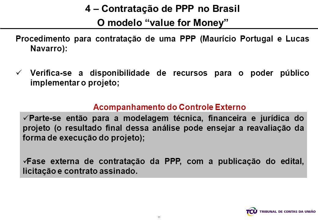 4 – Contratação de PPP no Brasil O modelo value for Money