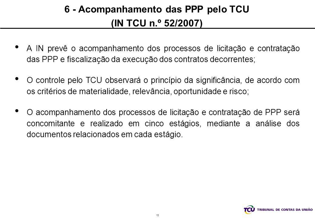 6 - Acompanhamento das PPP pelo TCU (IN TCU n.º 52/2007)