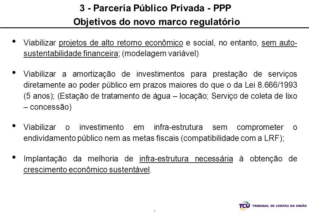 3 - Parceria Público Privada - PPP Objetivos do novo marco regulatório
