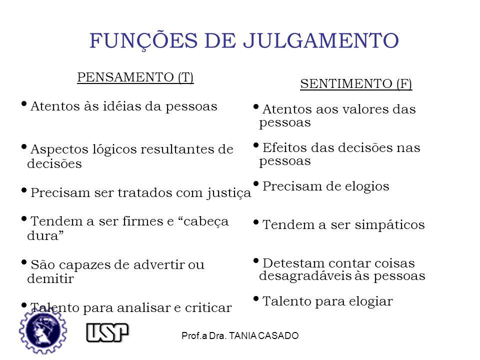 FUNÇÕES DE JULGAMENTO PENSAMENTO (T) SENTIMENTO (F)
