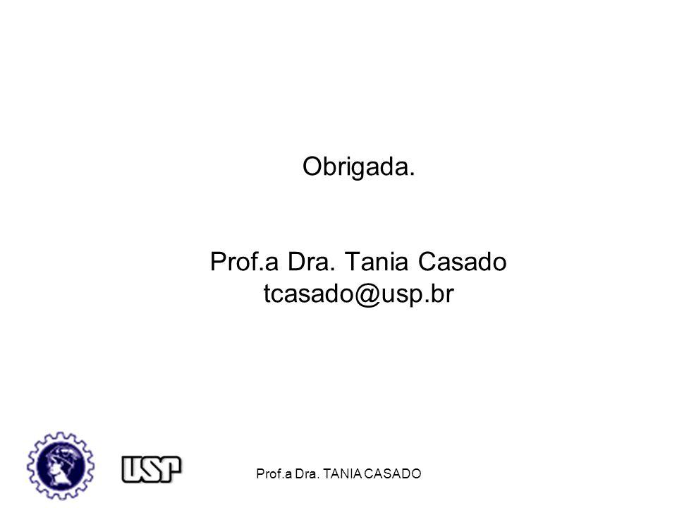 Obrigada. Prof.a Dra. Tania Casado tcasado@usp.br