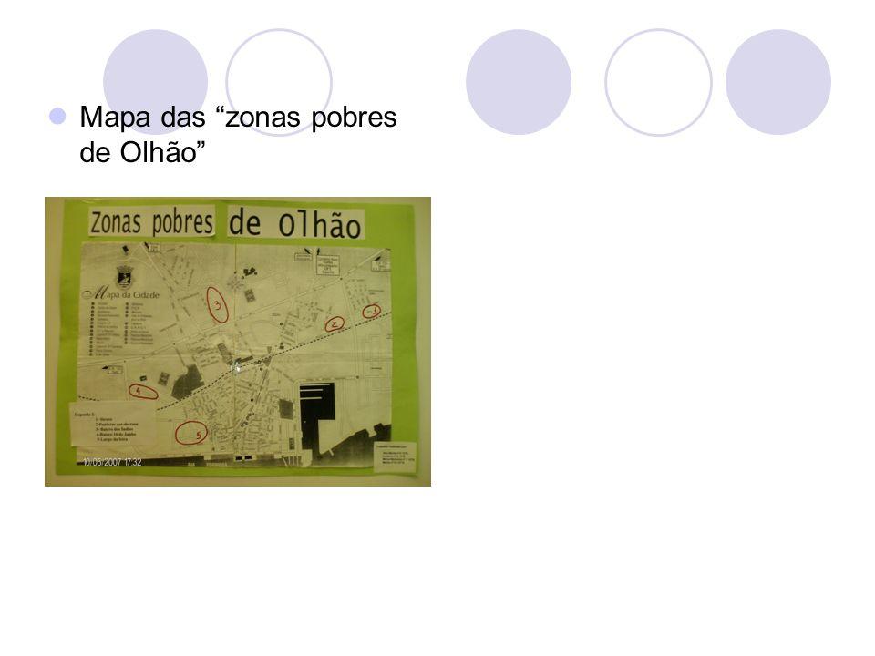 Mapa das zonas pobres de Olhão