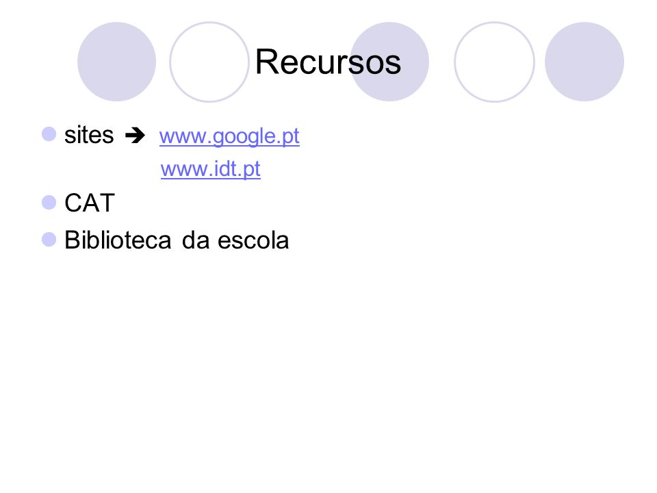 Recursos sites  www.google.pt www.idt.pt CAT Biblioteca da escola