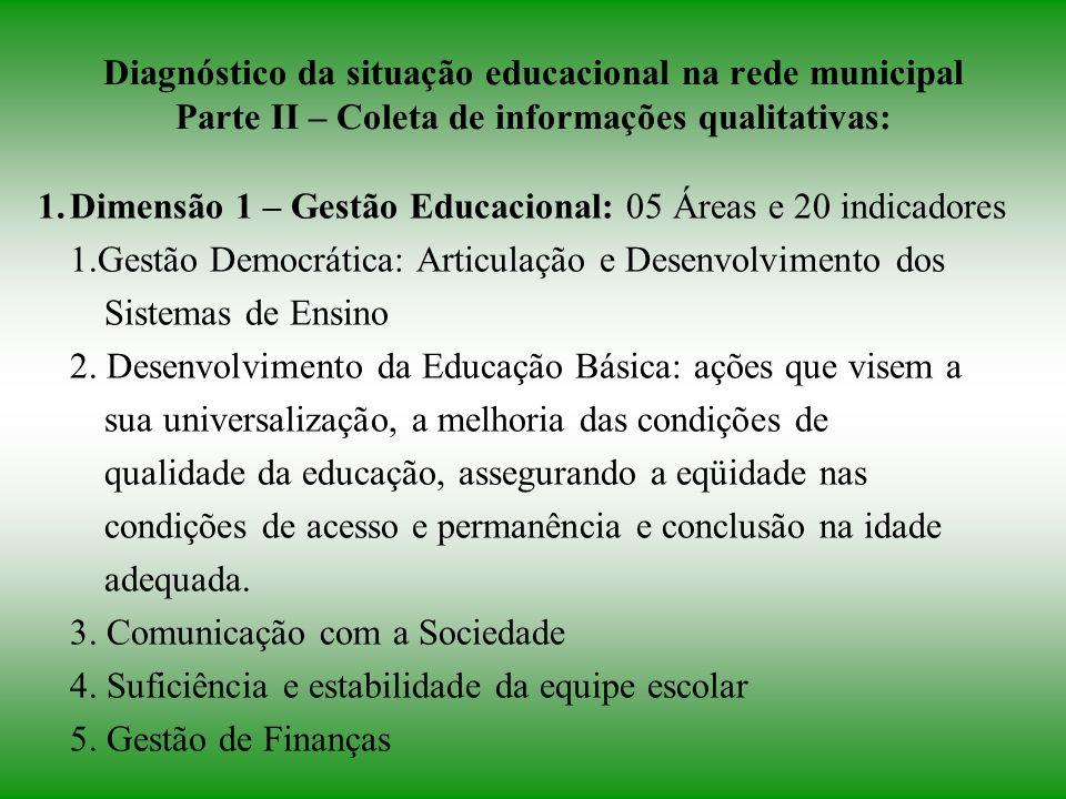Diagnóstico da situação educacional na rede municipal Parte II – Coleta de informações qualitativas:
