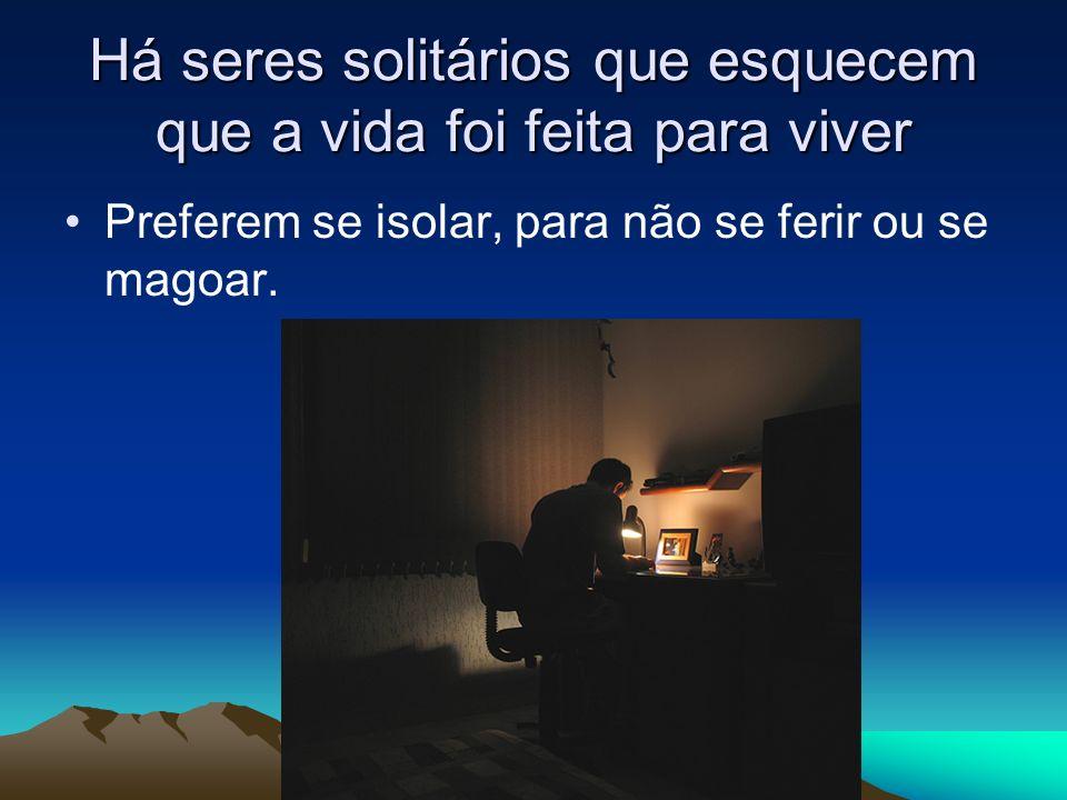 Há seres solitários que esquecem que a vida foi feita para viver