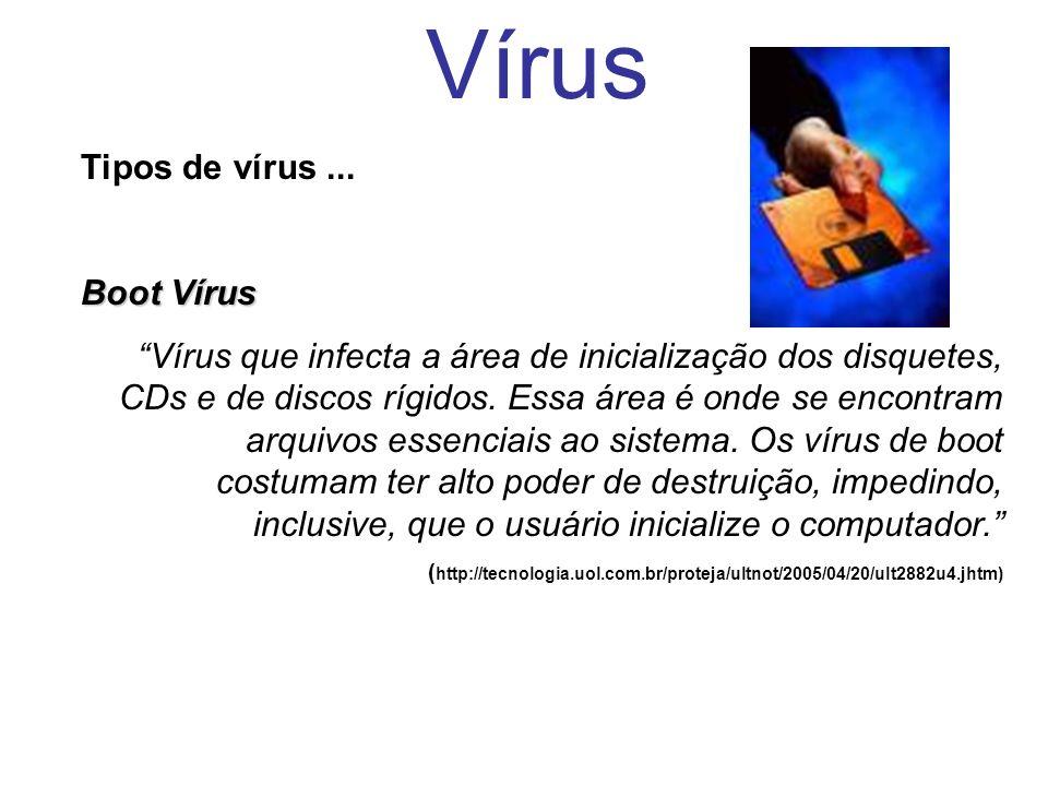 Vírus Tipos de vírus ... Boot Vírus