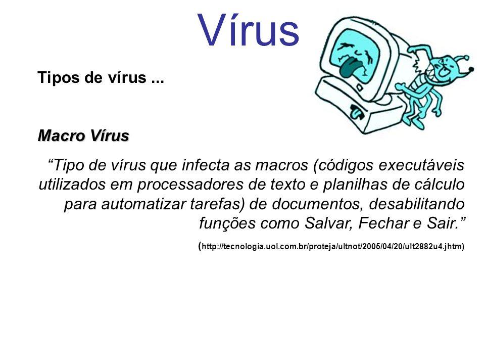 Vírus Tipos de vírus ... Macro Vírus