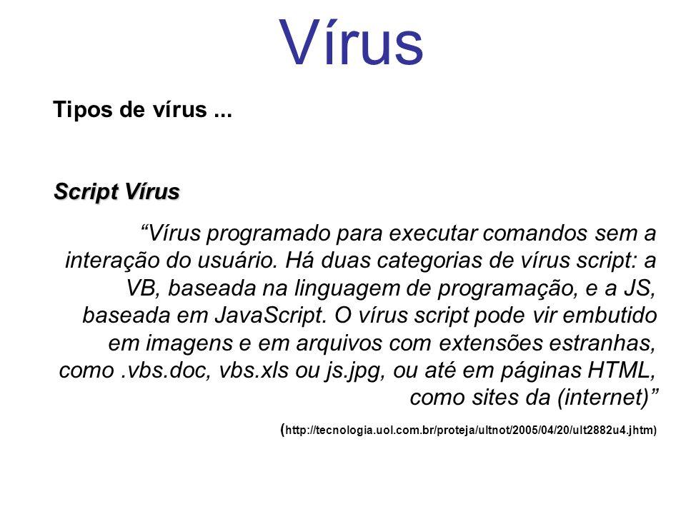 Vírus Tipos de vírus ... Script Vírus