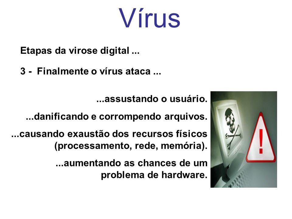 Vírus Etapas da virose digital ... 3 - Finalmente o vírus ataca ...