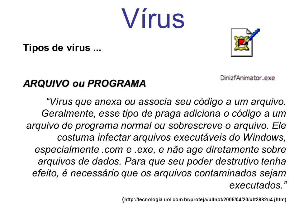 Vírus Tipos de vírus ... ARQUIVO ou PROGRAMA