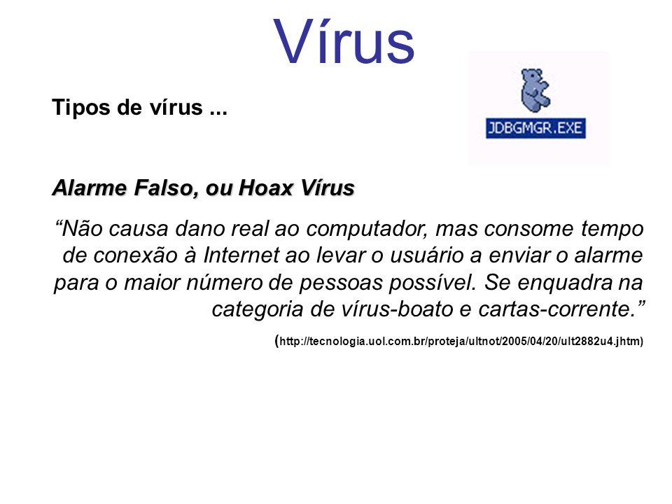 Vírus Tipos de vírus ... Alarme Falso, ou Hoax Vírus