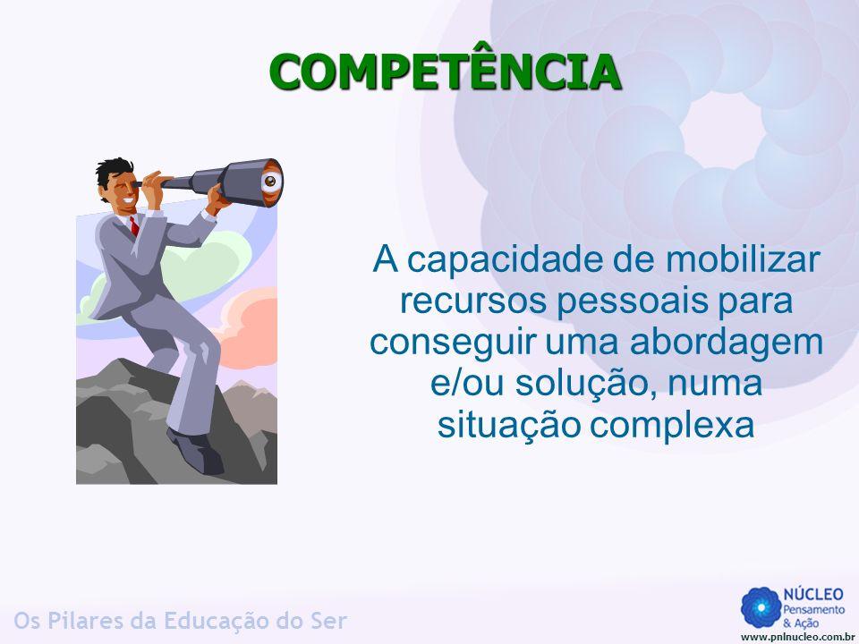 COMPETÊNCIA A capacidade de mobilizar recursos pessoais para conseguir uma abordagem e/ou solução, numa situação complexa.