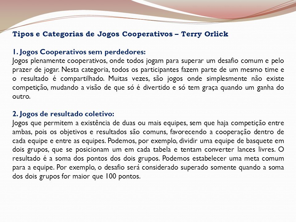 Tipos e Categorias de Jogos Cooperativos – Terry Orlick