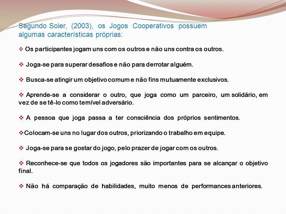 Segundo Soler, (2003), os Jogos Cooperativos possuem