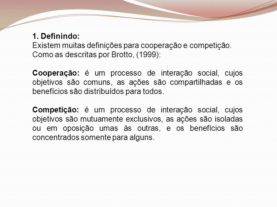 1. Definindo: Existem muitas definições para cooperação e competição. Como as descritas por Brotto, (1999):