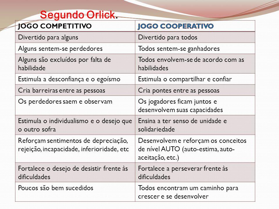Segundo Orlick. JOGO COMPETITIVO JOGO COOPERATIVO