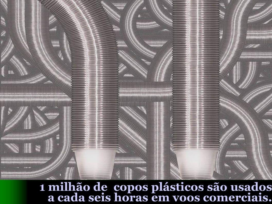 1 milhão de copos plásticos são usados a cada seis horas em voos comerciais.