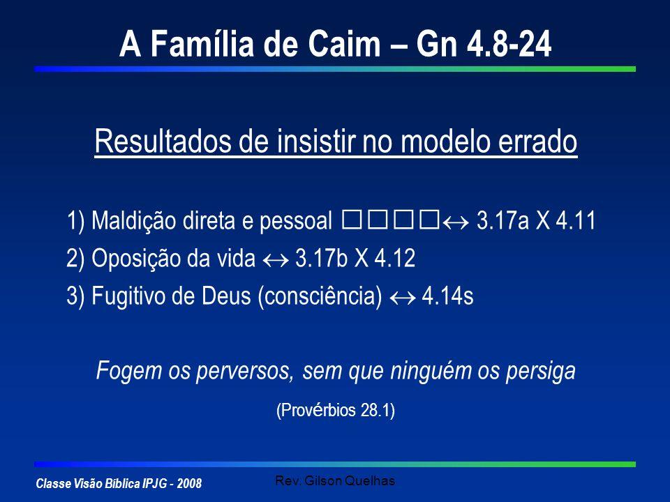 A Família de Caim – Gn 4.8-24 Resultados de insistir no modelo errado