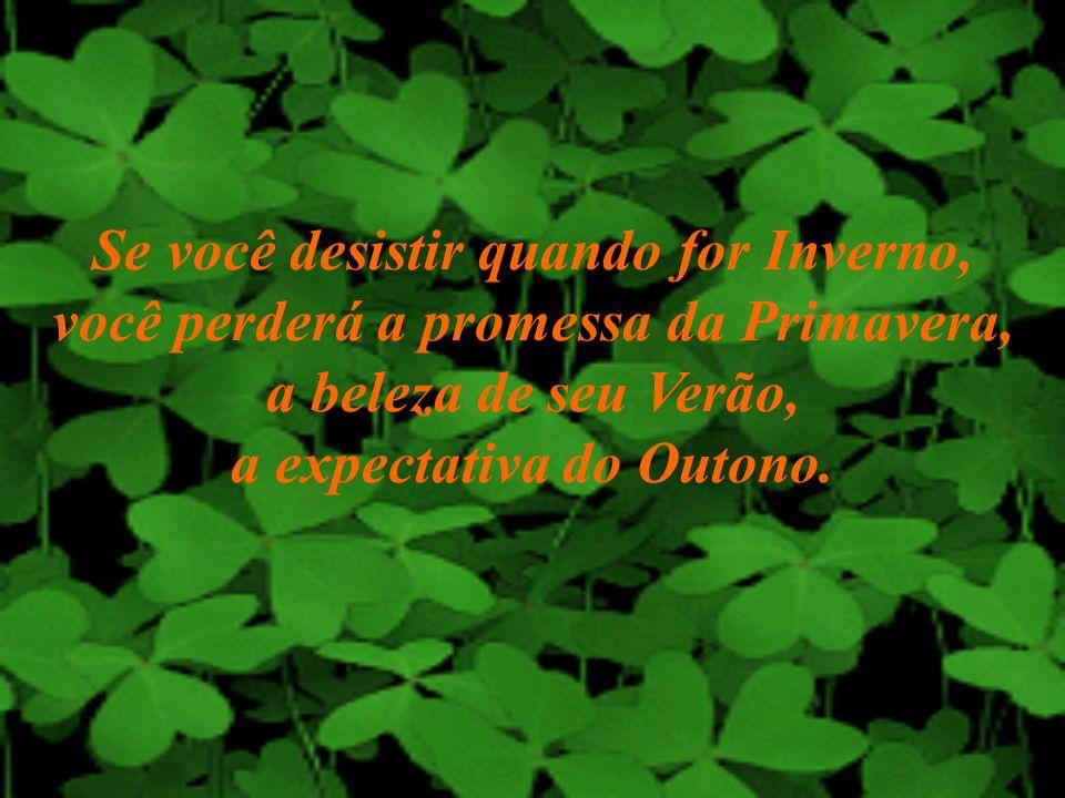 Se você desistir quando for Inverno, você perderá a promessa da Primavera, a beleza de seu Verão, a expectativa do Outono.