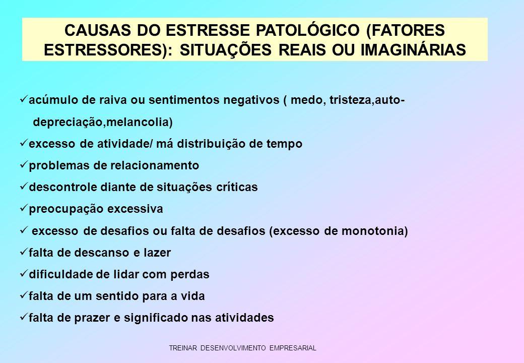 CAUSAS DO ESTRESSE PATOLÓGICO (FATORES ESTRESSORES): SITUAÇÕES REAIS OU IMAGINÁRIAS