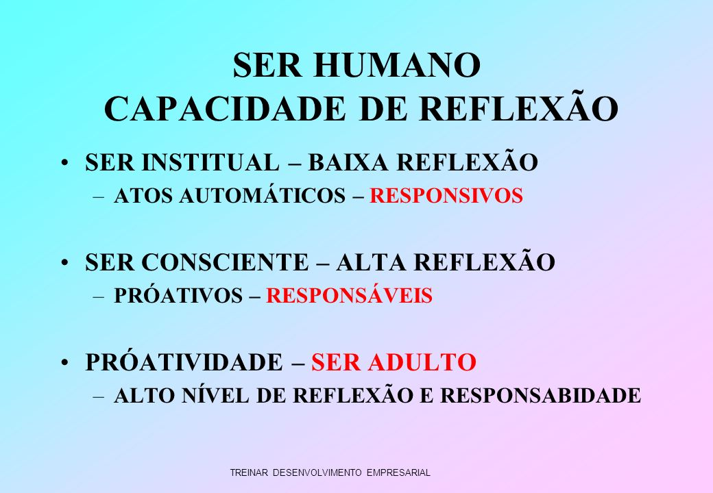 SER HUMANO CAPACIDADE DE REFLEXÃO