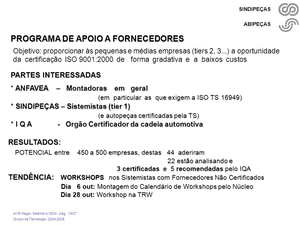 PROGRAMA DE APOIO A FORNECEDORES