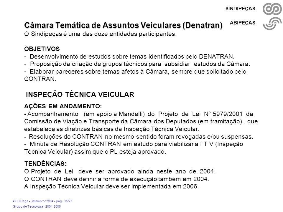 Câmara Temática de Assuntos Veiculares (Denatran) O Sindipeças é uma das doze entidades participantes.
