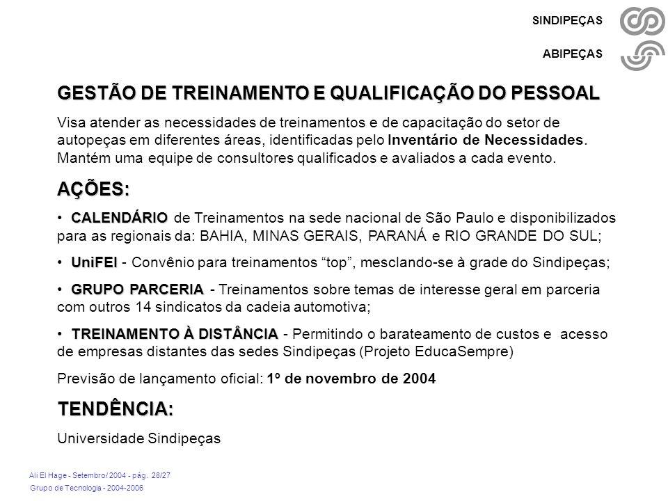 GESTÃO DE TREINAMENTO E QUALIFICAÇÃO DO PESSOAL