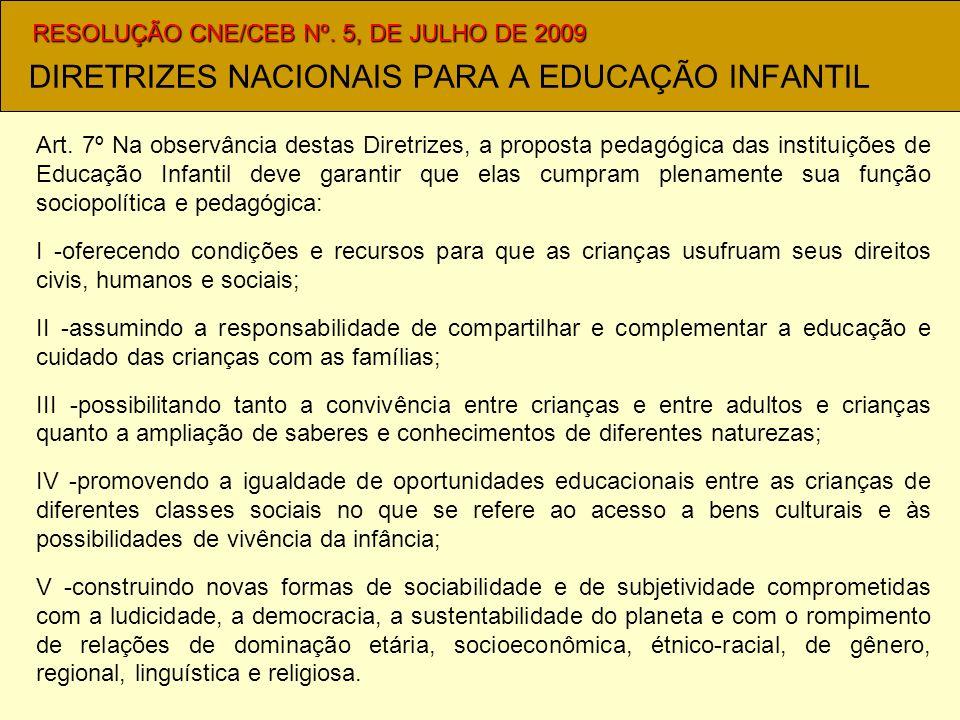 DIRETRIZES NACIONAIS PARA A EDUCAÇÃO INFANTIL