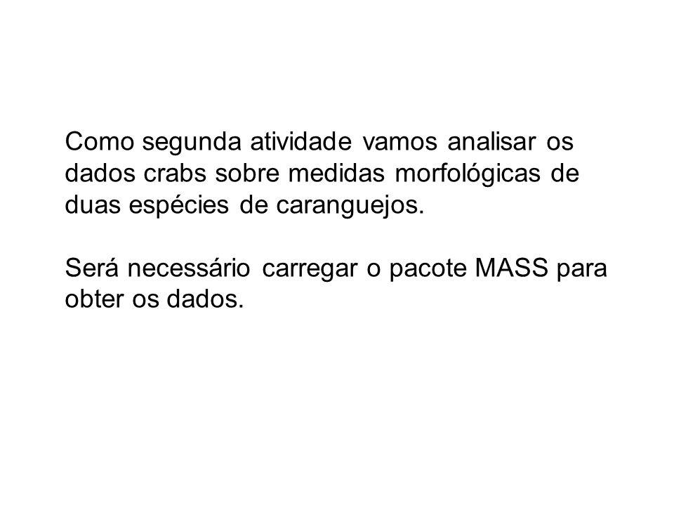 Como segunda atividade vamos analisar os dados crabs sobre medidas morfológicas de duas espécies de caranguejos.