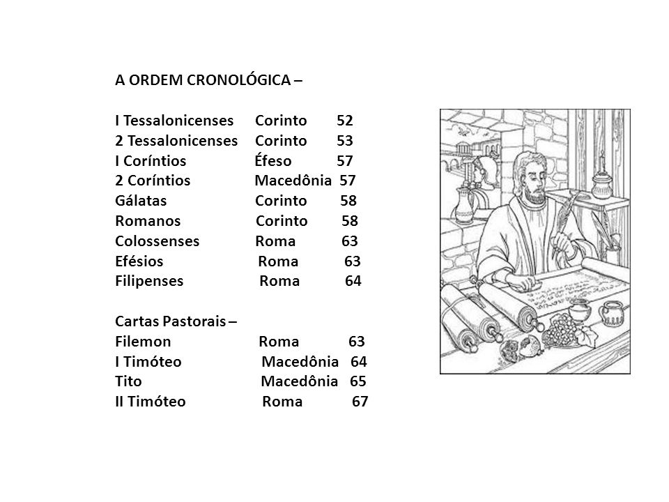 A ORDEM CRONOLÓGICA – I Tessalonicenses Corinto 52. 2 Tessalonicenses Corinto 53.