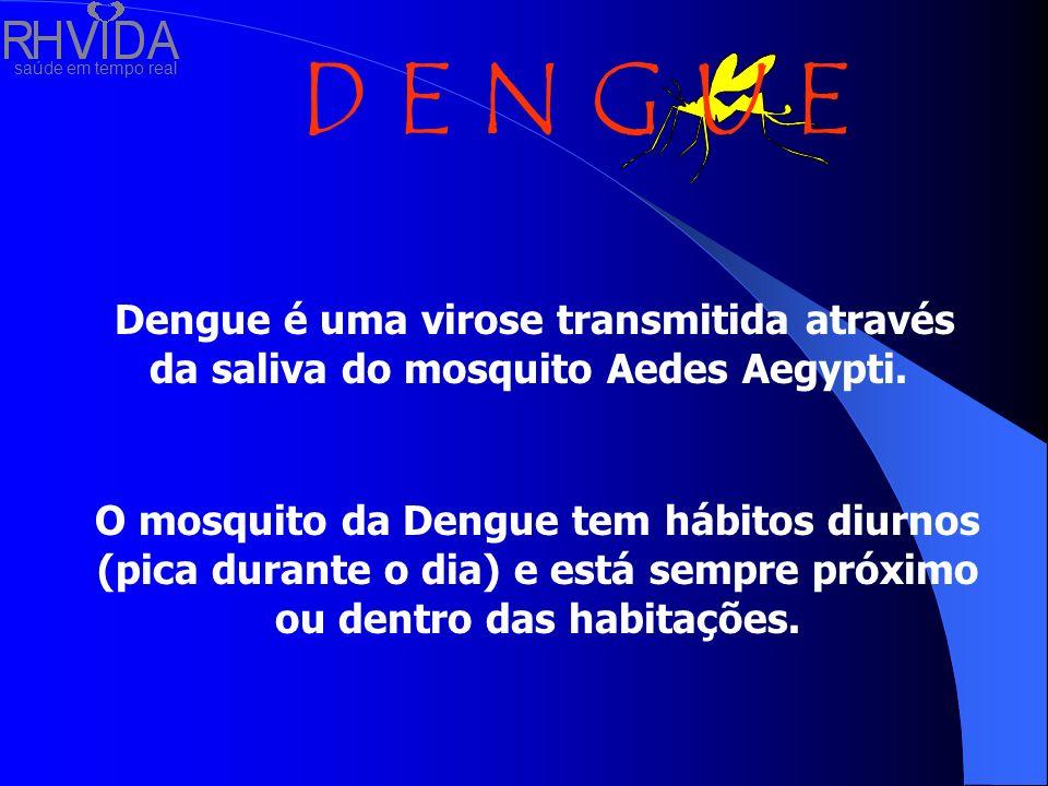 Dengue é uma virose transmitida através da saliva do mosquito Aedes Aegypti.