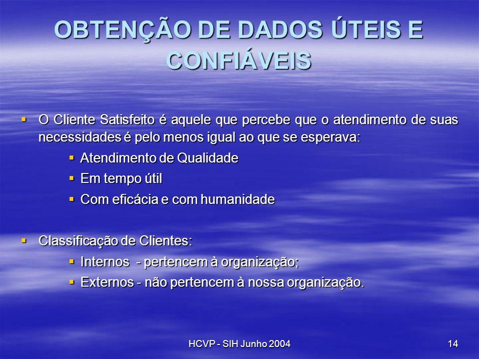 OBTENÇÃO DE DADOS ÚTEIS E CONFIÁVEIS